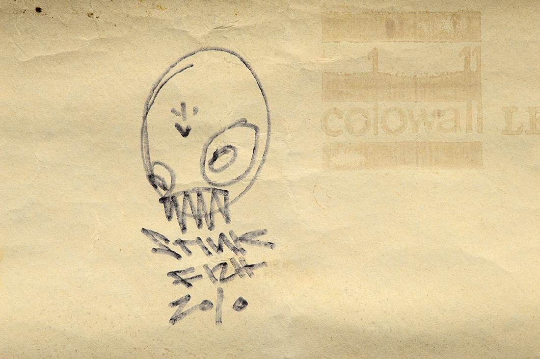 Stinkfish- Spray Paint & Stencil on Wallpaper - 5