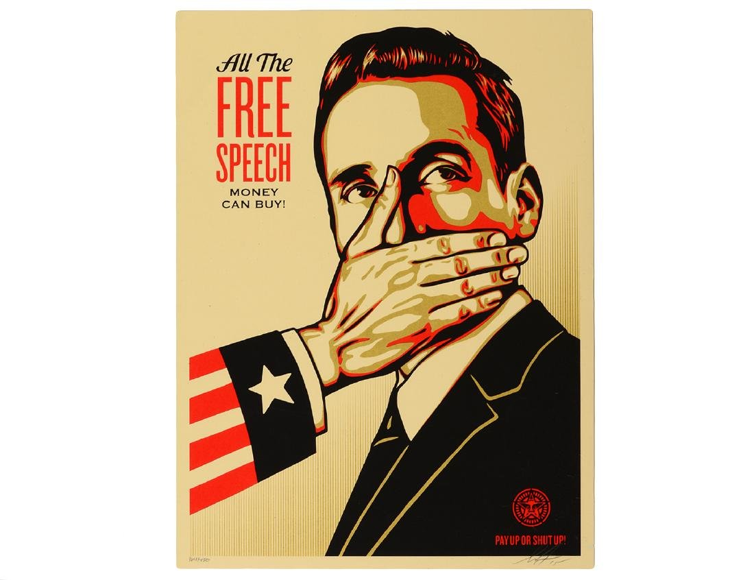 "Shepard Fairey ""Pay Up or Shut Up"" Screen Print"
