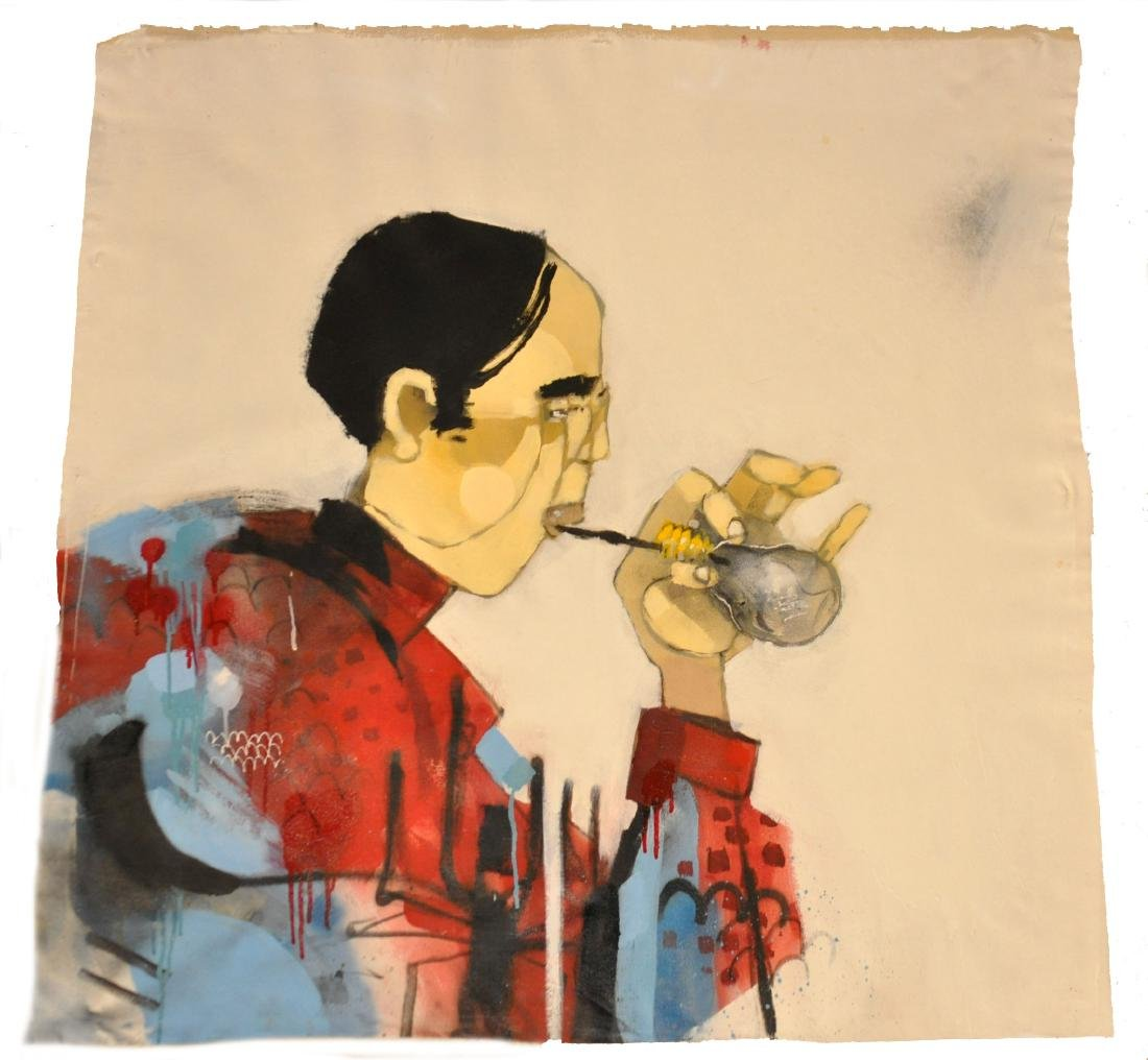 """Anthony Lister """"Bugs School For Smoking"""" Oil"""