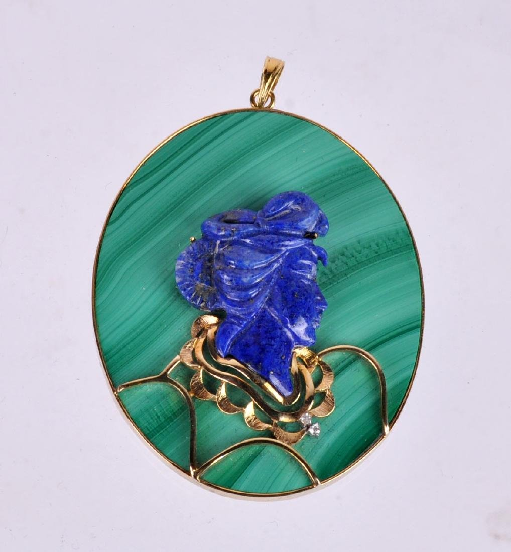 Malachite, Lapis & 14Kt Gold Large Pendant