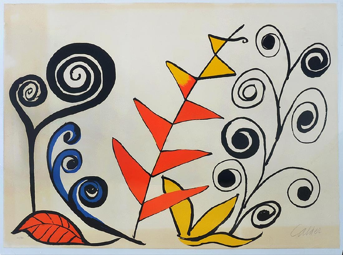 "Signed Alexander Calder ""Les Fleurs"" Lithograph"