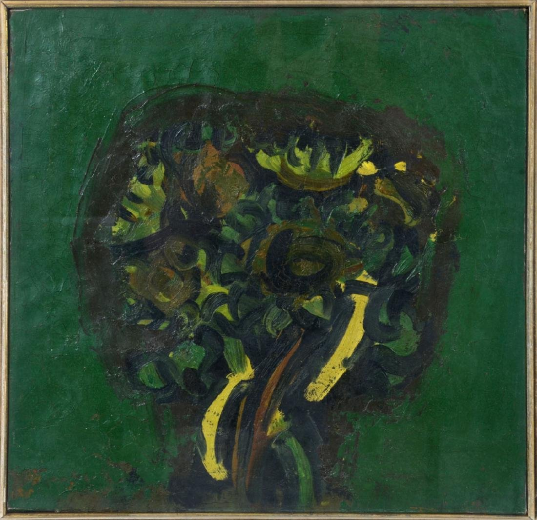 "Ennio Morlotti ""Green Composition"" Oil on Canvas"