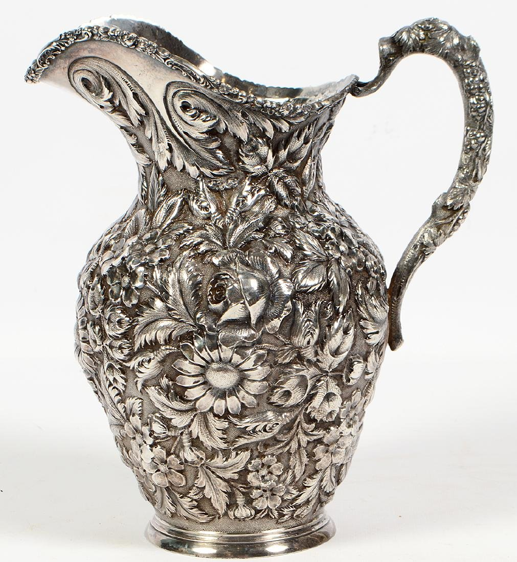 Stieff Victorian Hand Chased Sterling Pitcher