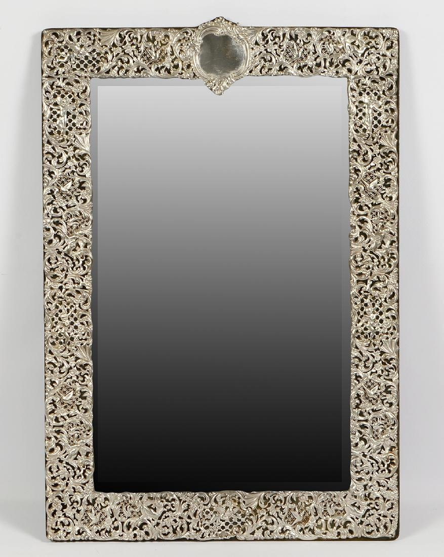 English Large Sterling Dressing Mirror, Hallmarked
