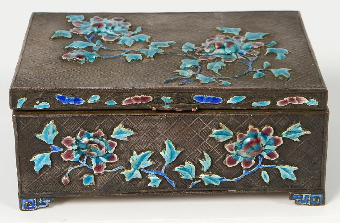Chinese Silver & Enamel Decorative Box