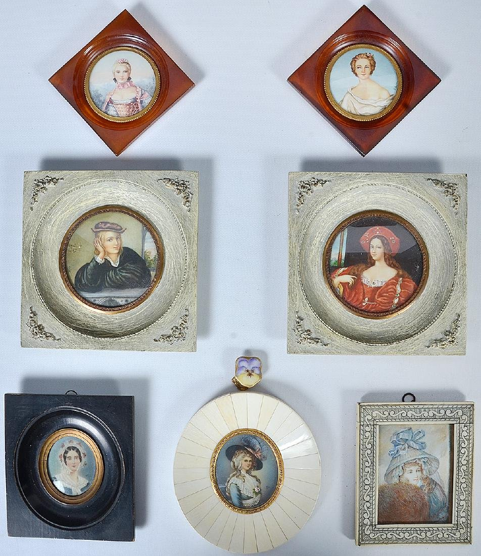 7 Assorted Miniature French Portraits