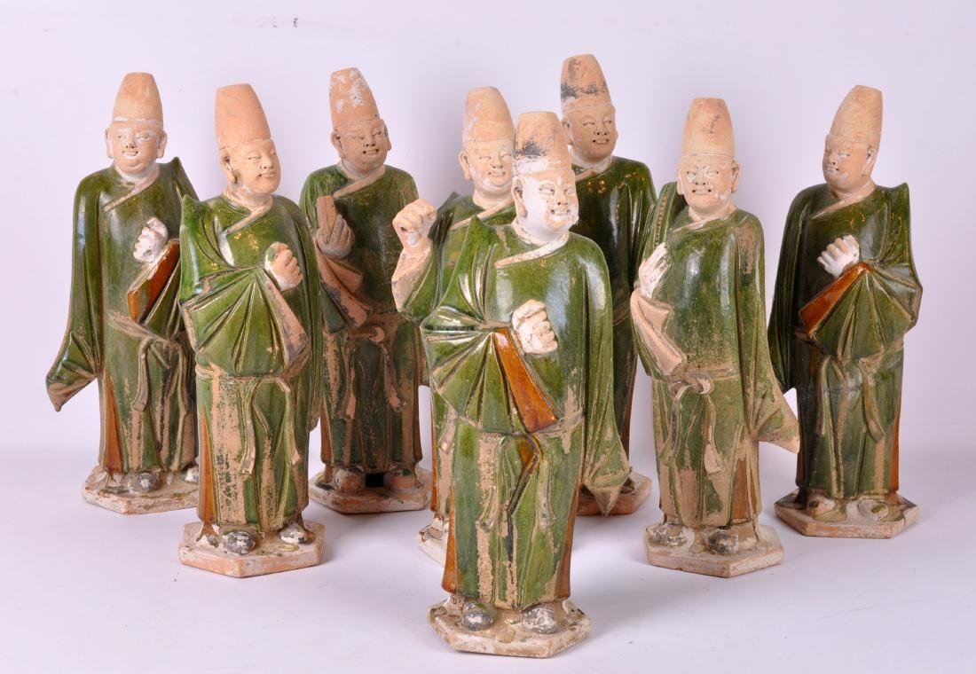 8 Chinese Mud Figures in Scholarly Robes