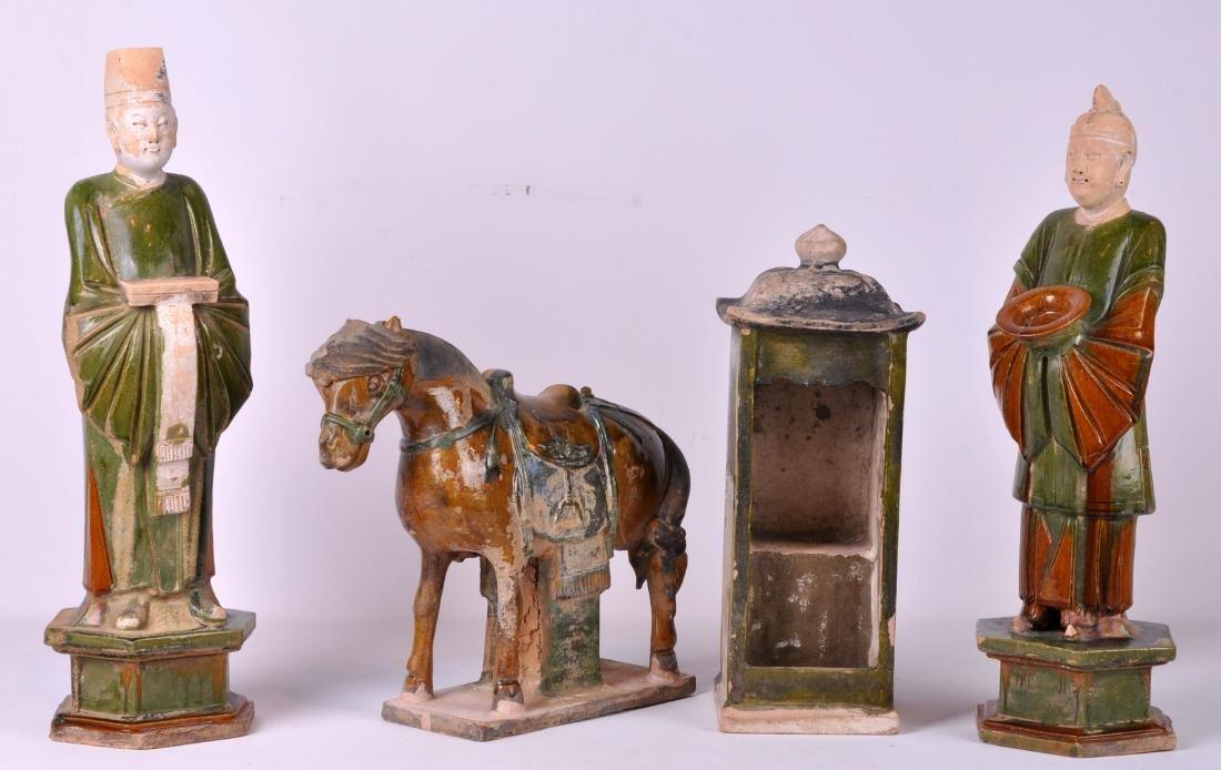 4 Pcs. Chinese Mud Figurines