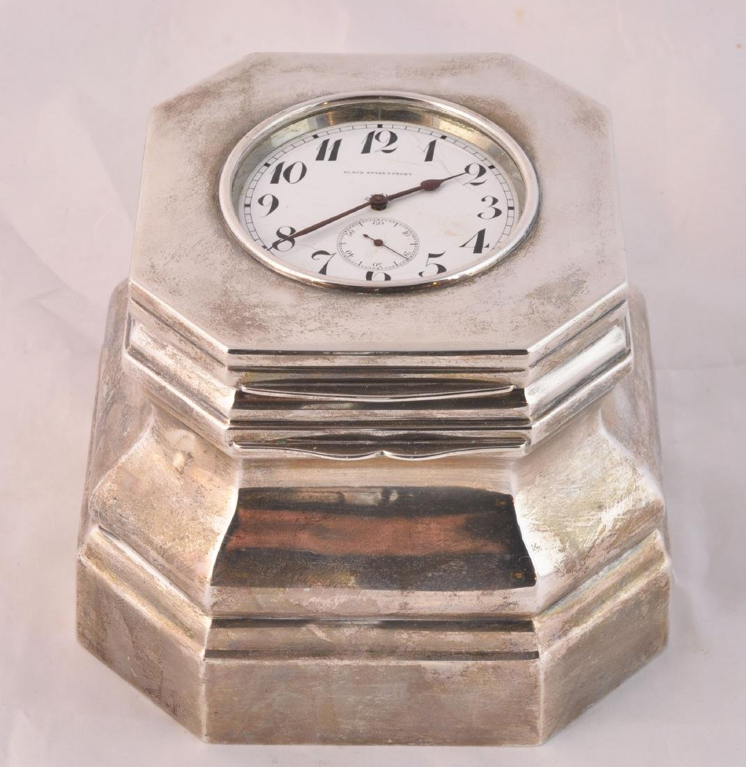 Black Starr Frost Sterling Silver Clock & Inkwell