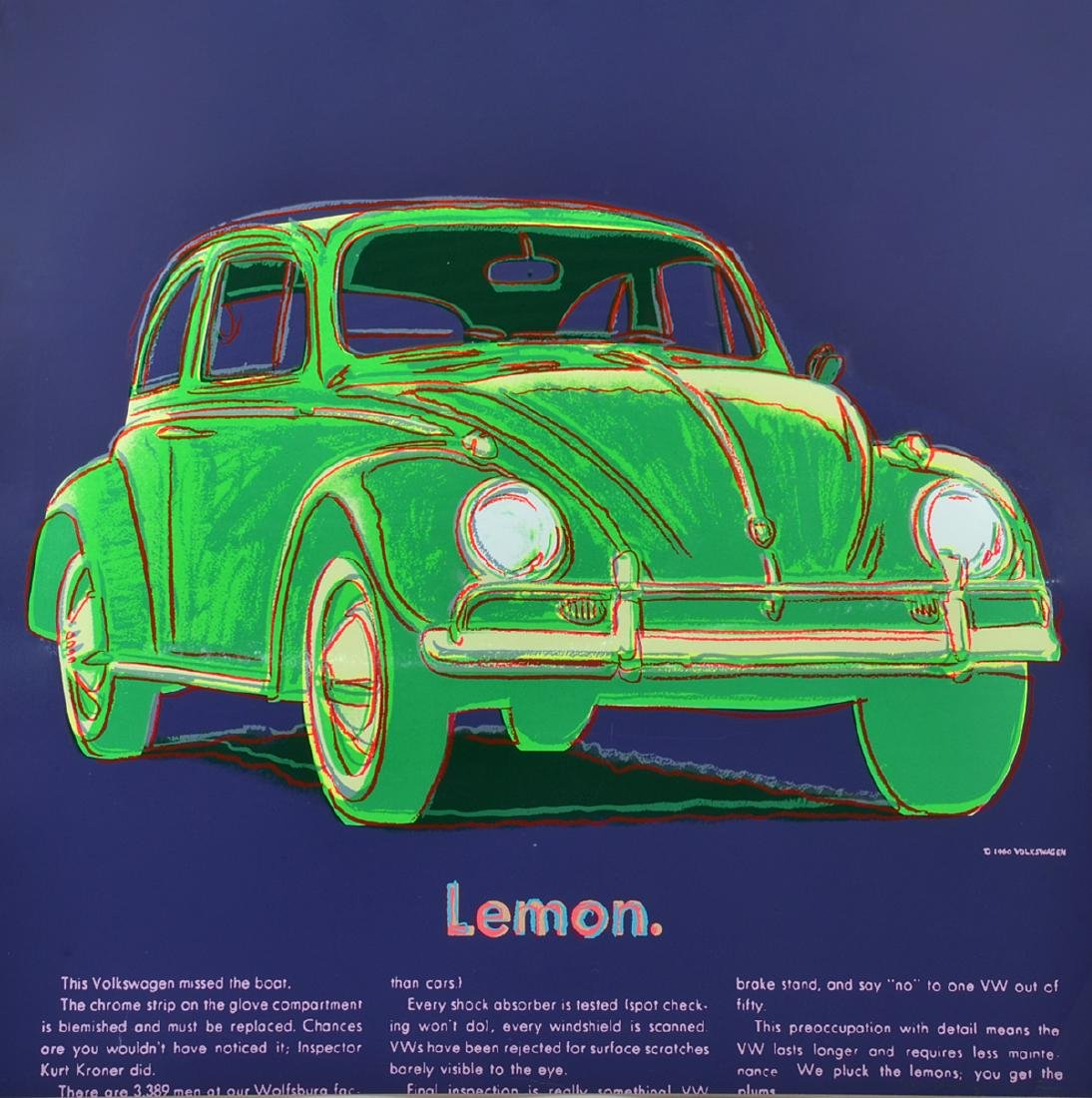 "Andy Warhol ""Lemon Volkswagen"" Screenprint"