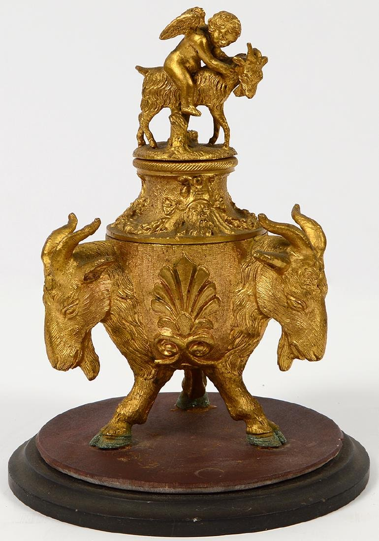 Bronze Inkwell with Rams Heads and Cherub