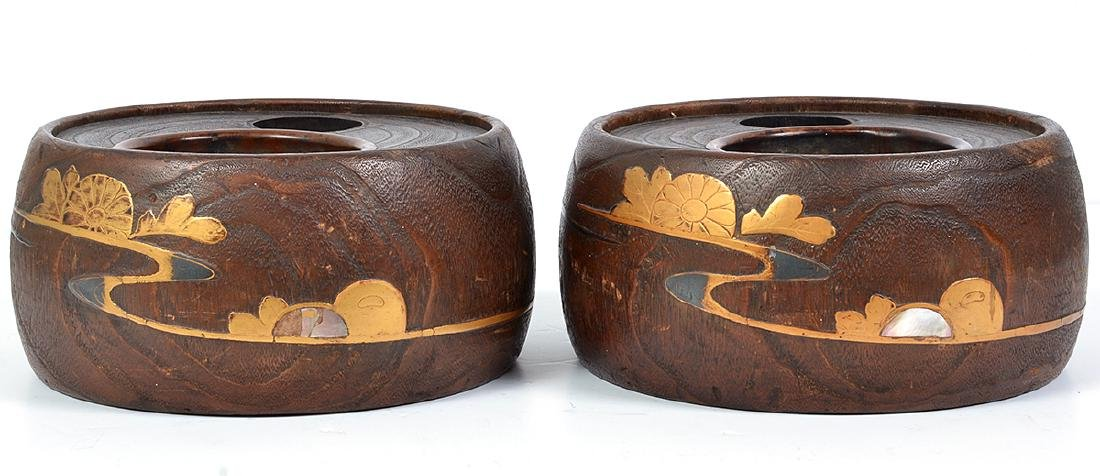 Pr. Chinese/Asian Carved Wood Brush Pots