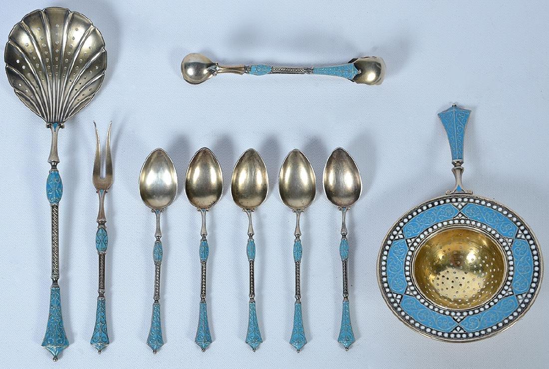 9 Pc. Enamel Sterling Tableware by David Andersen