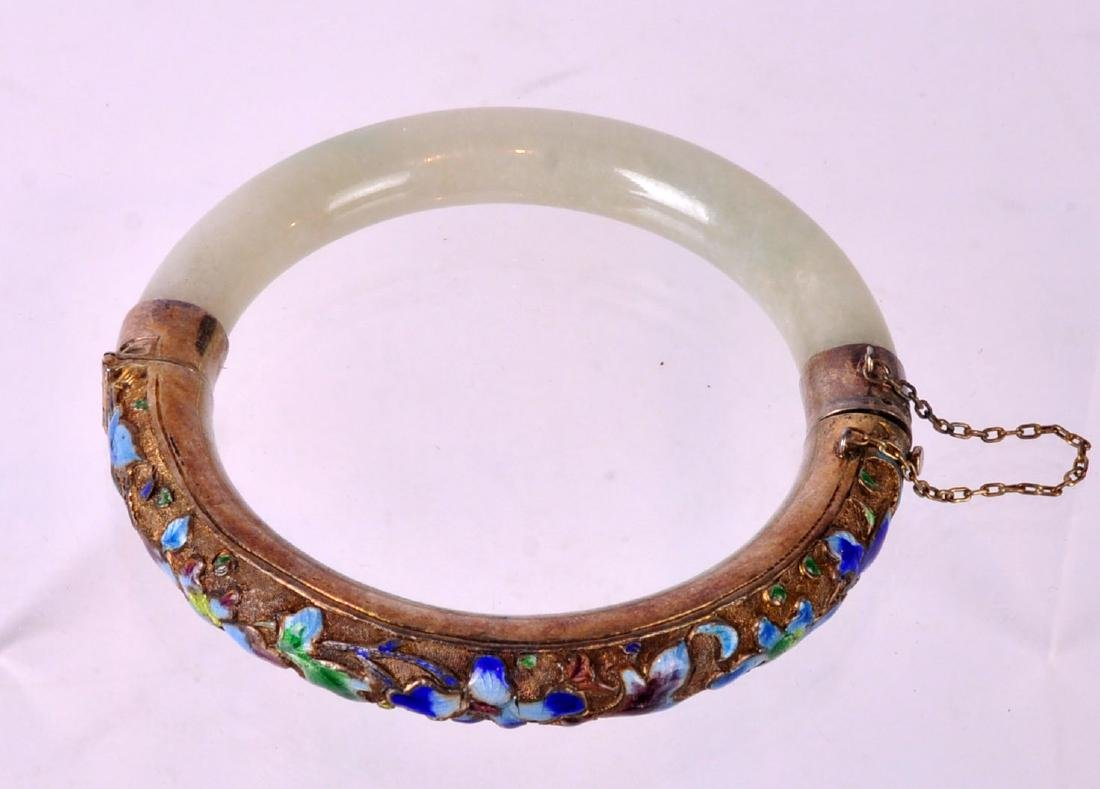 Chinese Jade, Silver & Enamel Bangle