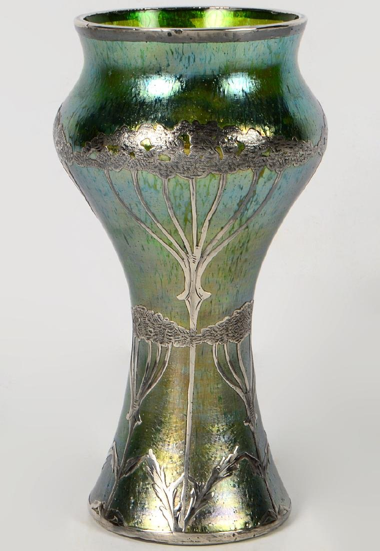 Loetz Glass Vase with Sterling Overlay