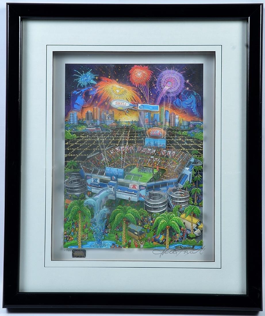 "Charles Fazzino ""Super Bowl XLI"" Signed 3D Pop Art"