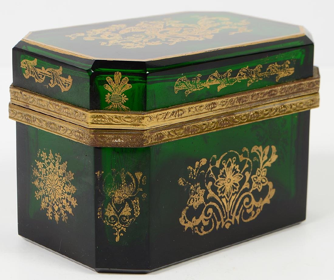Green Glass Box with Gilt Decorative Designs