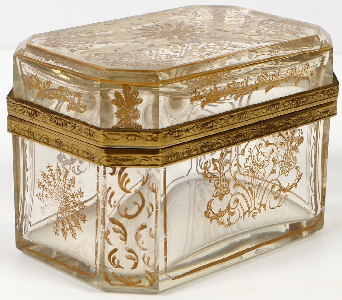 Glass Box with Gilt Painted Decorative Designs