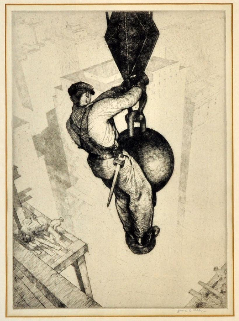 """Rare James Allen """"On Top Of The World"""" Etching"""