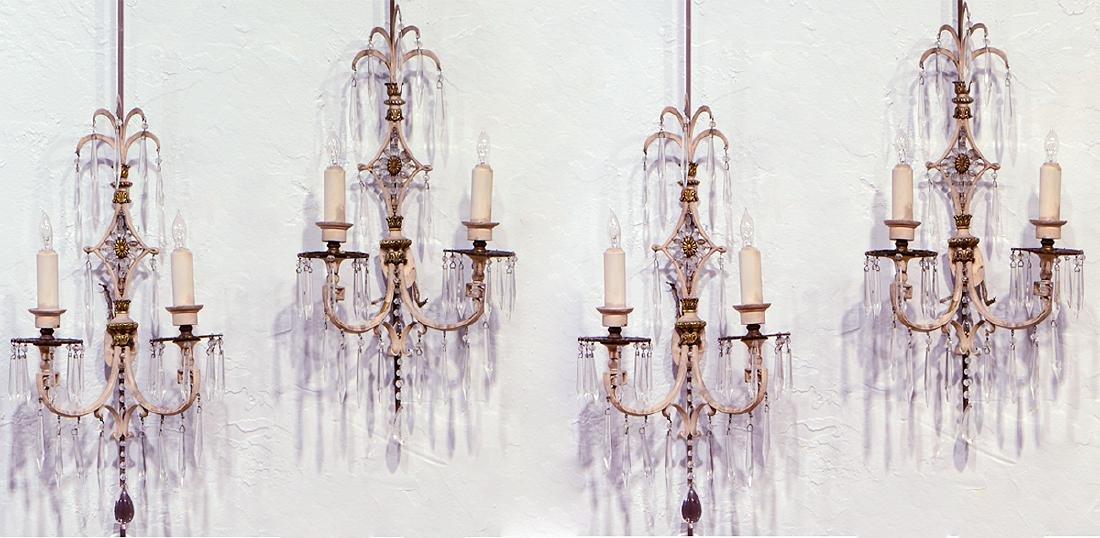4 Hollywood Regency Bronze & Crystal Sconces