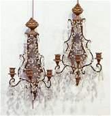 Pr. 19th C. Carved Gilt Wood & Crystal Sconces