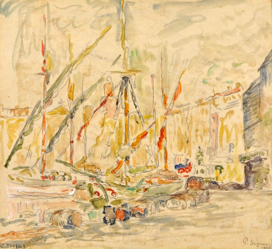 "Paul Signac ""St Tropez"" Signed Watercolor"