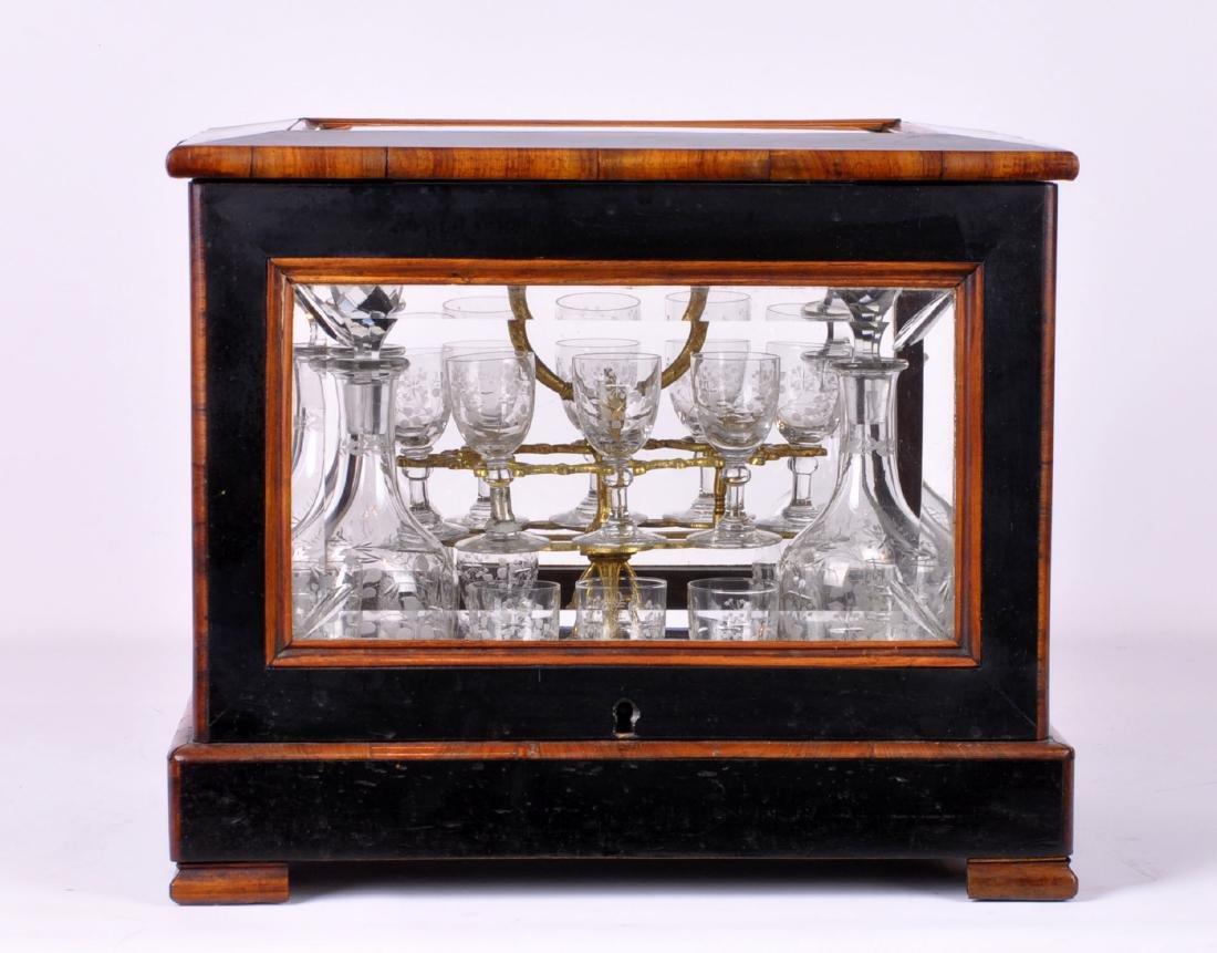 19th C. Antique Wood & Crystal Tantulus Set