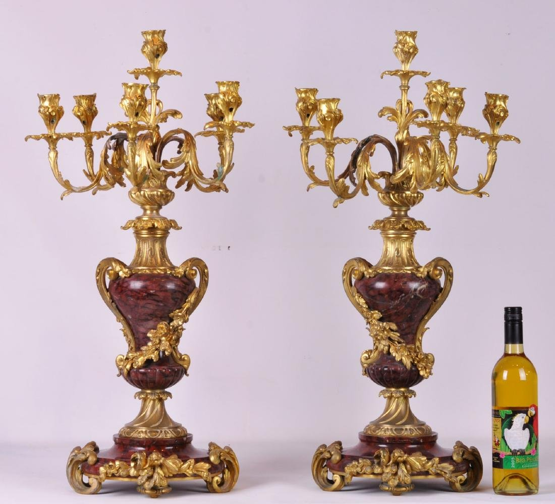 Pr. 19th Ct. French Rouge Marble and Bronze Candelabras