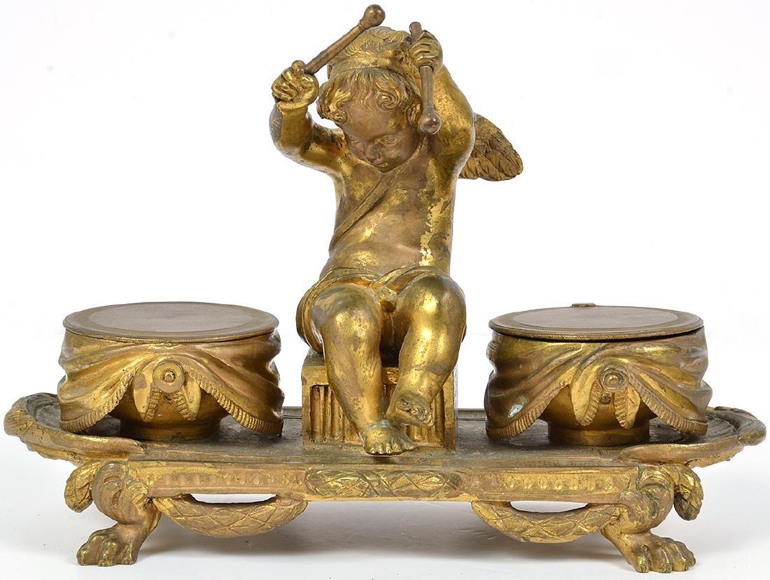 19th C. French Bronze Cherub Inkwell