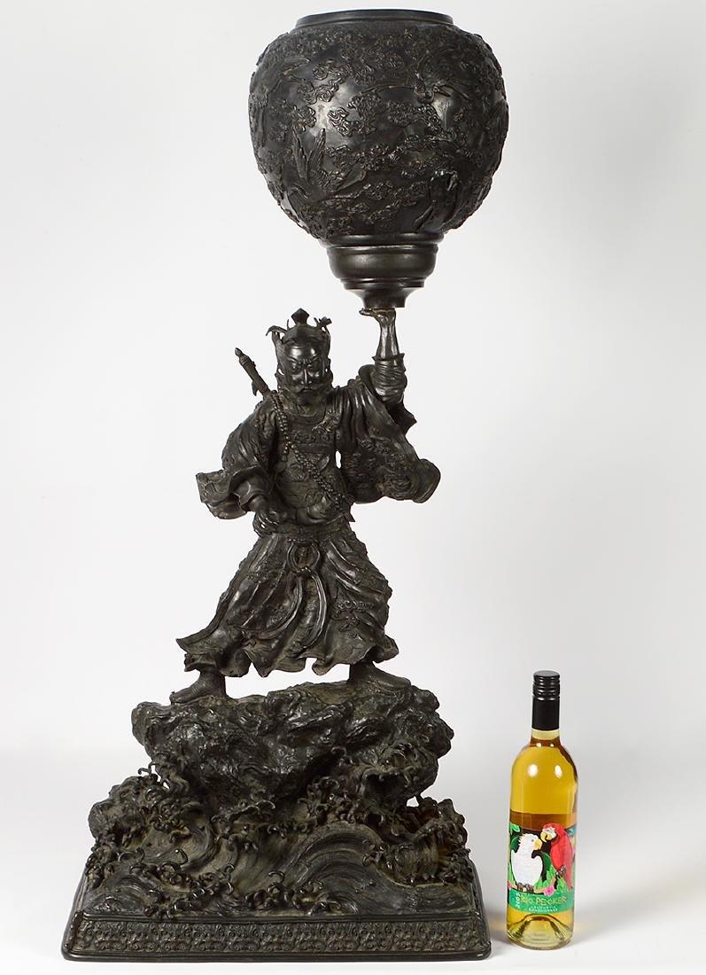 Large Japanese Bronze Samurai Warrior Meiji Period