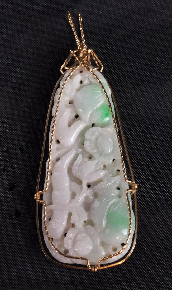 Chinese Jade Pendant with 14kt Gold Wrap