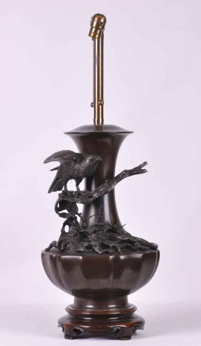 Large Japanese Bronze Table Lamp