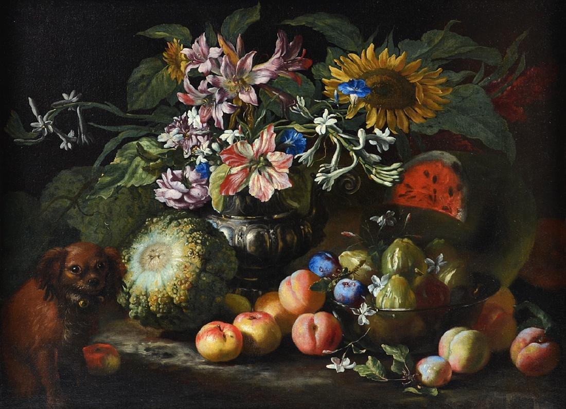 """Abraham Brueghel """"Still Life"""" Oil on Canvas"""