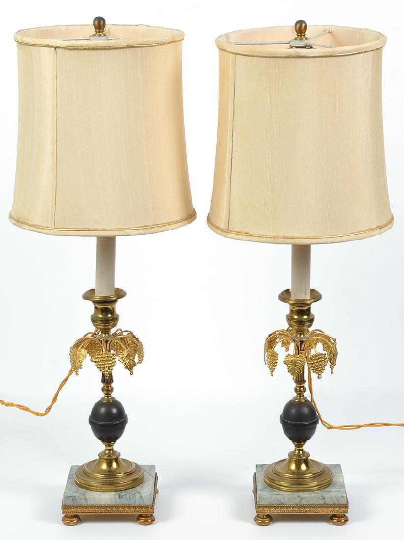Pr 19th c Gilt & Bronze Lamps/ Marble Bases