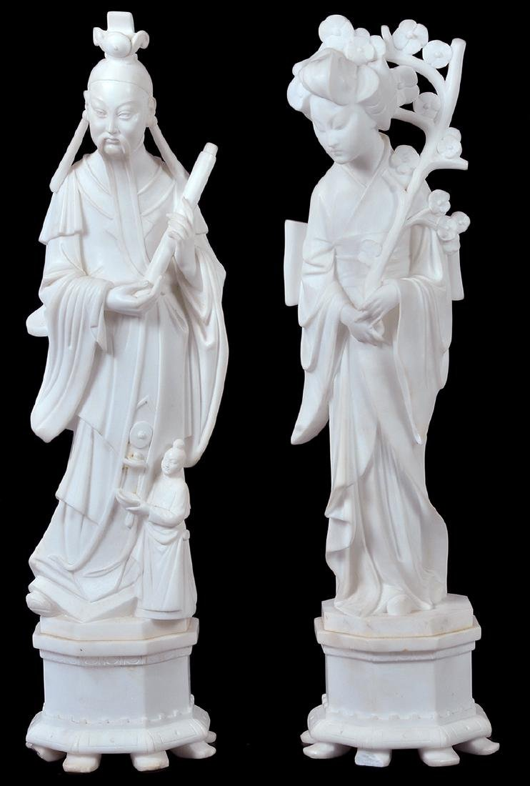 Pr. 19th C Chinese Alabaster Figures
