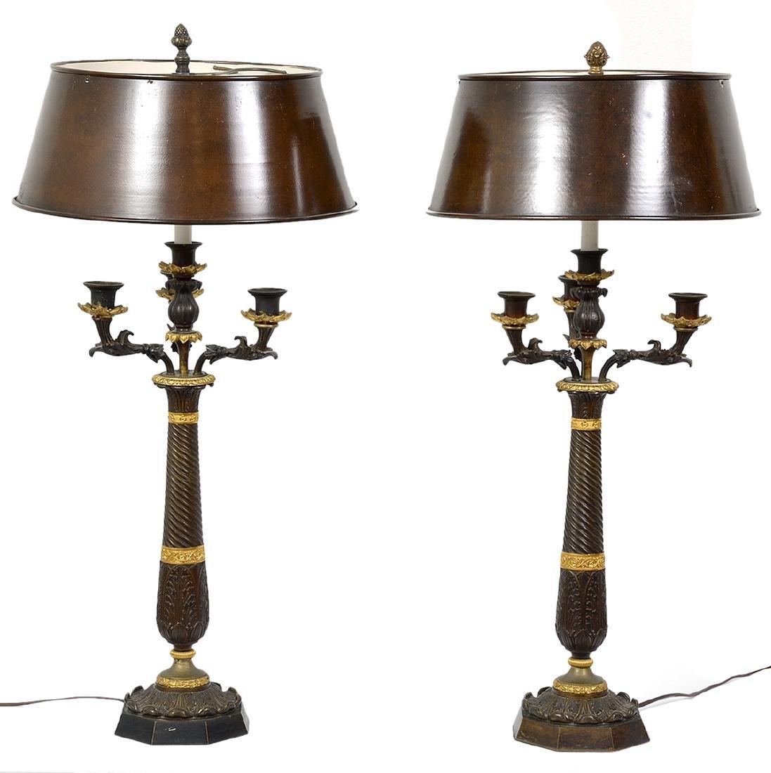Pr. 19th C. Empire Bronze Candelabra Lamps