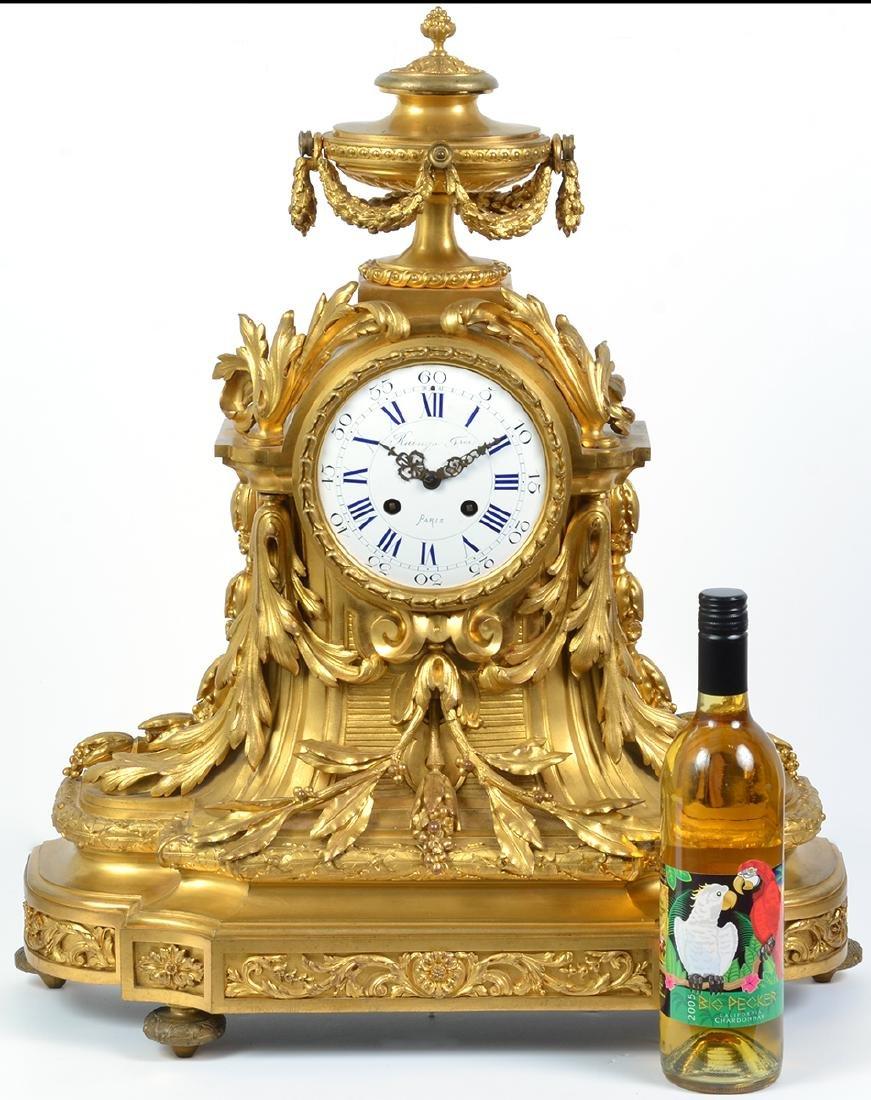 Large Gilt Bronze Raingo Freres Mantle Clock