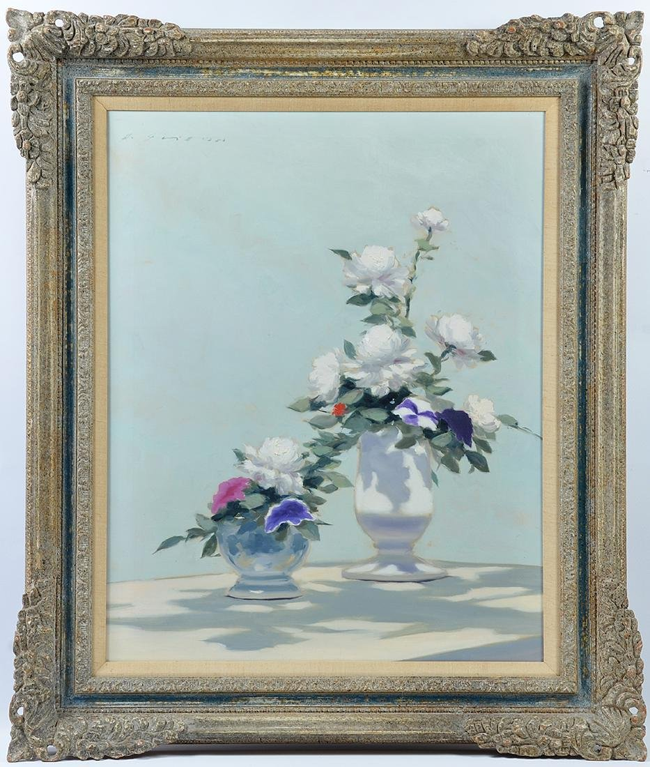 Large Andre Gisson Floral Still Life Oil on Canvas