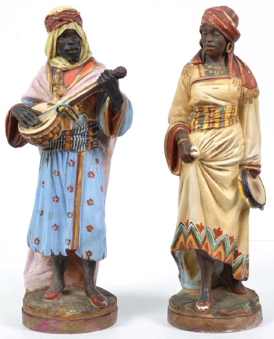 2 19th C. French Bisque Blackamoor Figurines