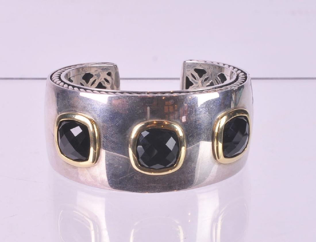 David Yurman Large Silver & Gold Cuff with Onyx