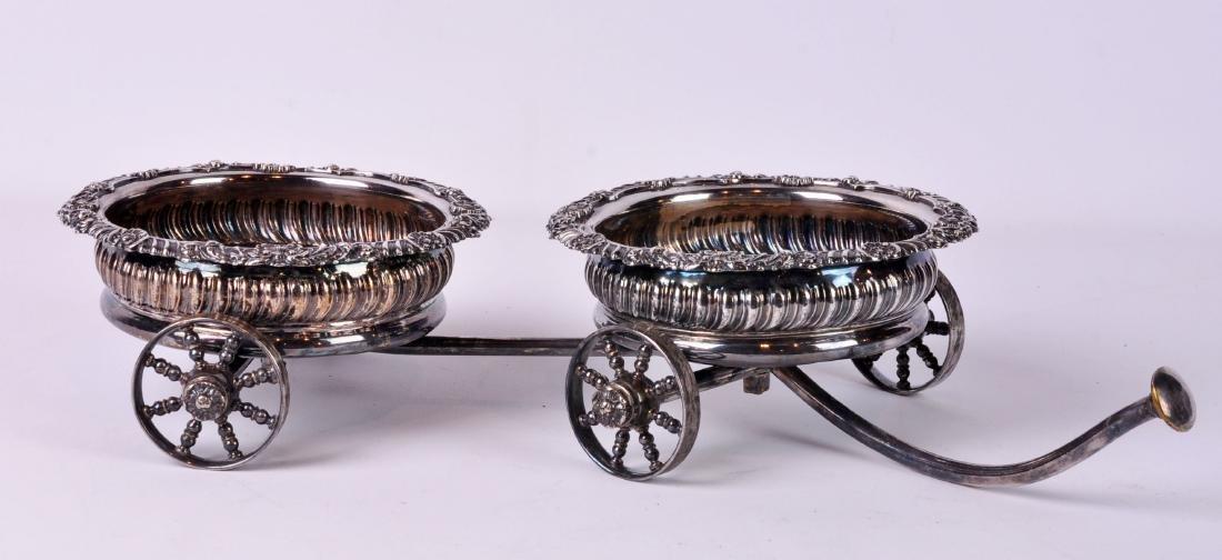 Silver Plate Double Wine Trolley