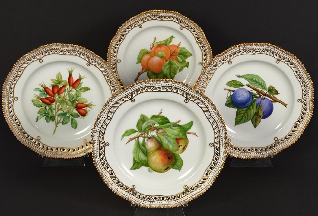 4 Royal Copenhagen Flora Danica Luncheon Plates