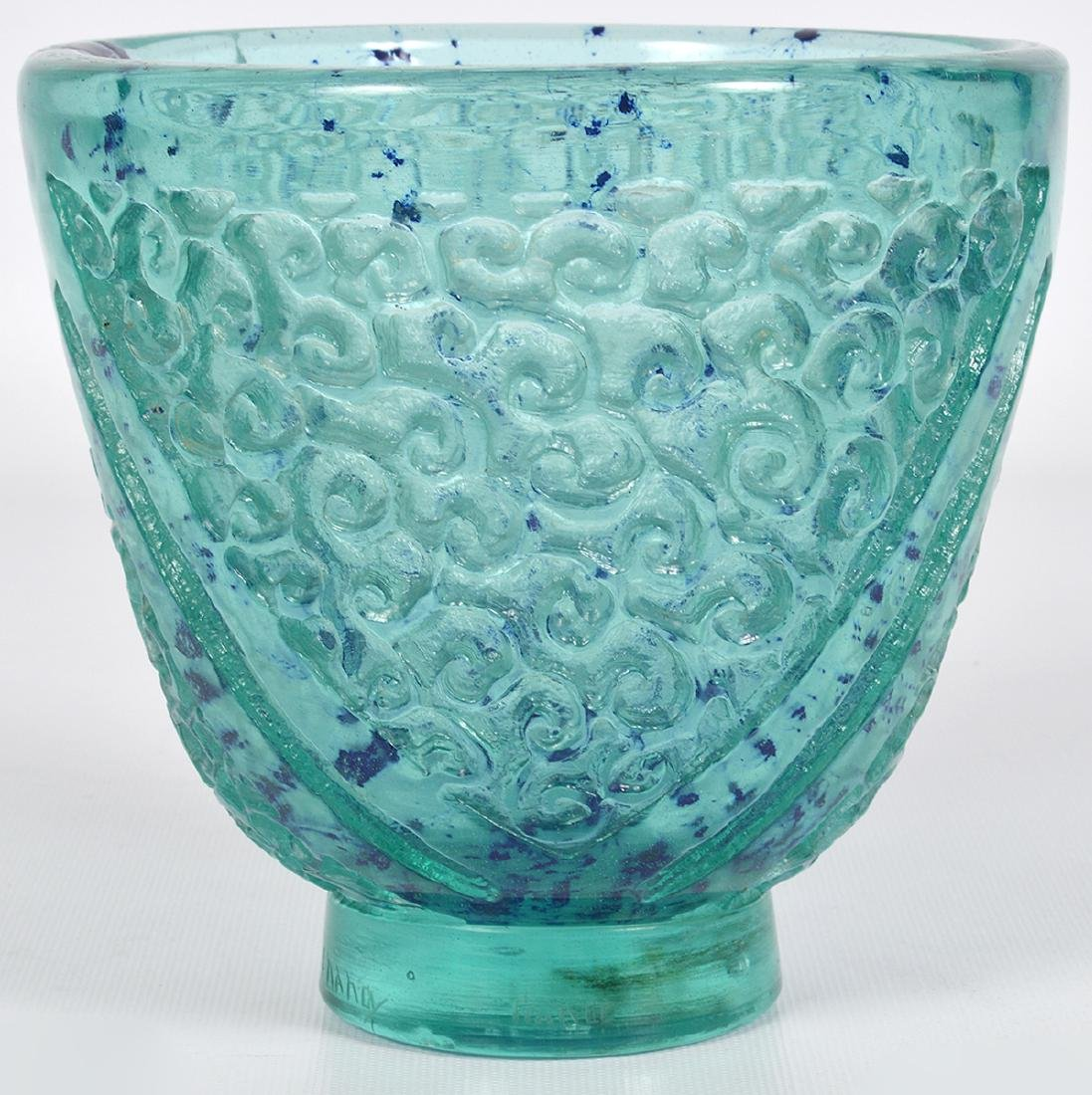 Daum Nancy Blue/Green Glass Acid Etched Vase