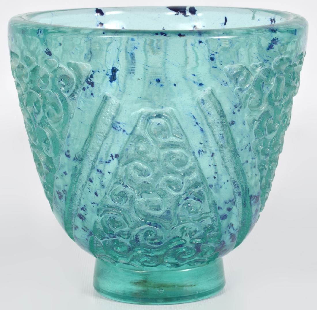 Daum Nancy Blue/Green Glass Acid Etched Vase - 2