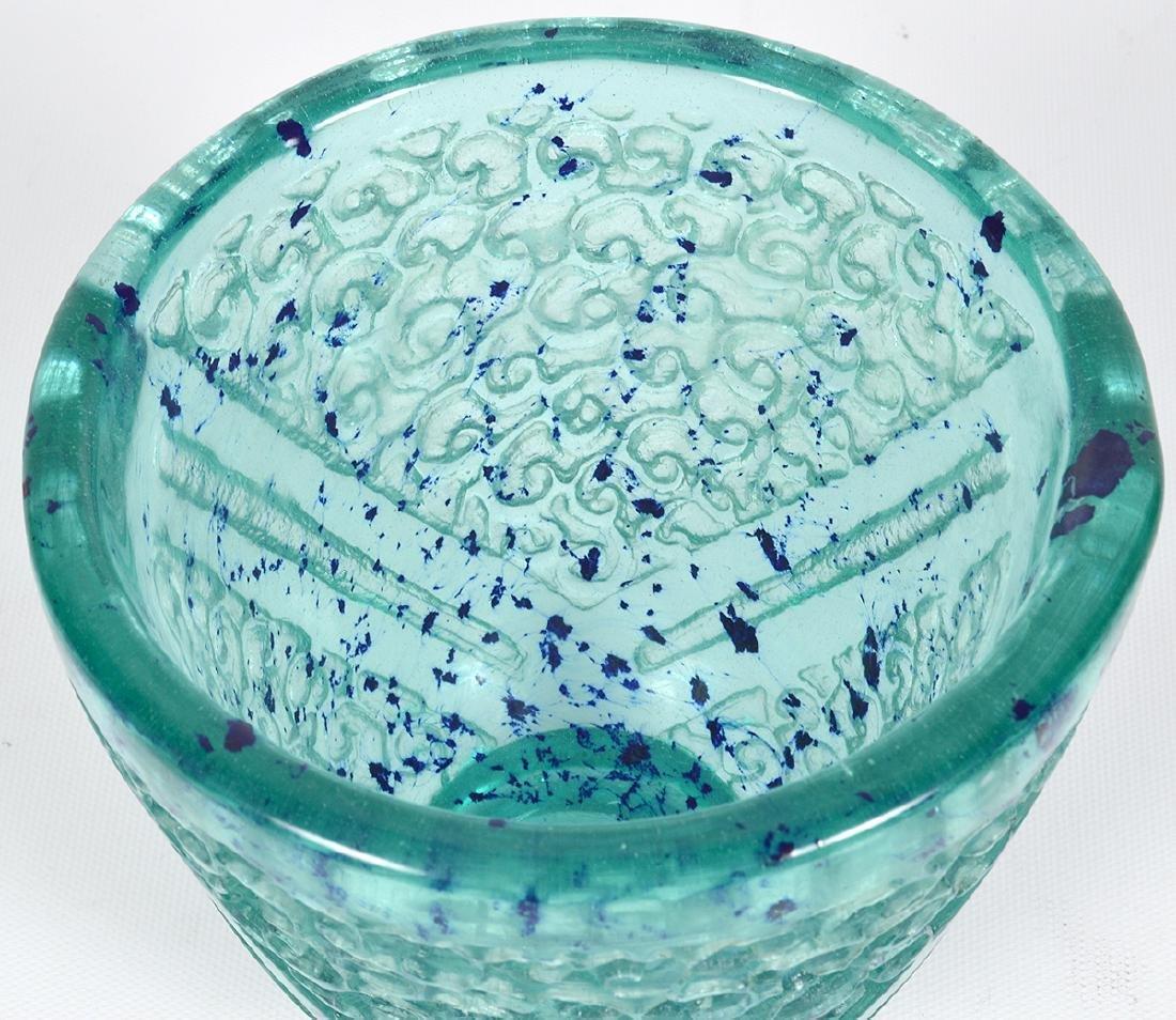 Daum Nancy Blue/Green Glass Acid Etched Vase - 3