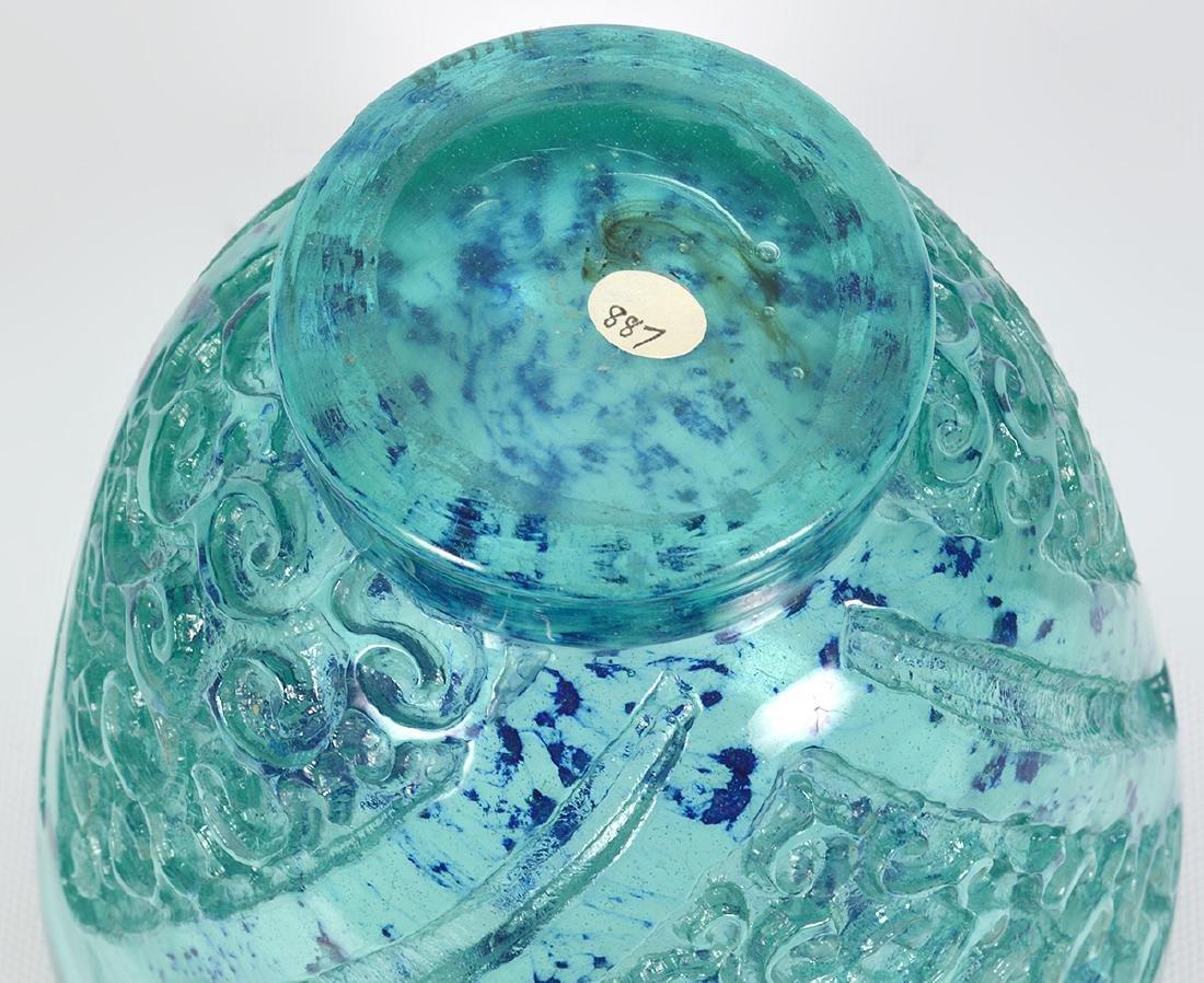 Daum Nancy Blue/Green Glass Acid Etched Vase - 4
