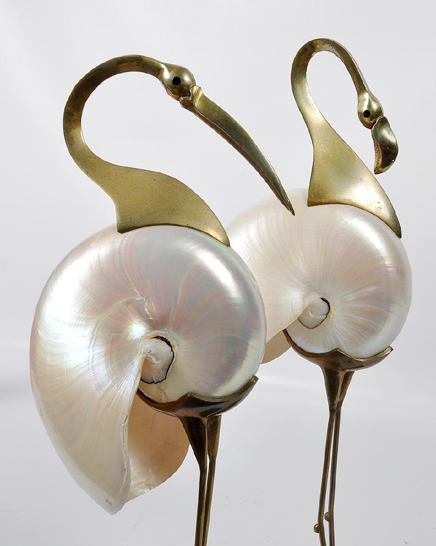 2 Bronze Mounted Nautilus Shell Bird Sculptures - 11
