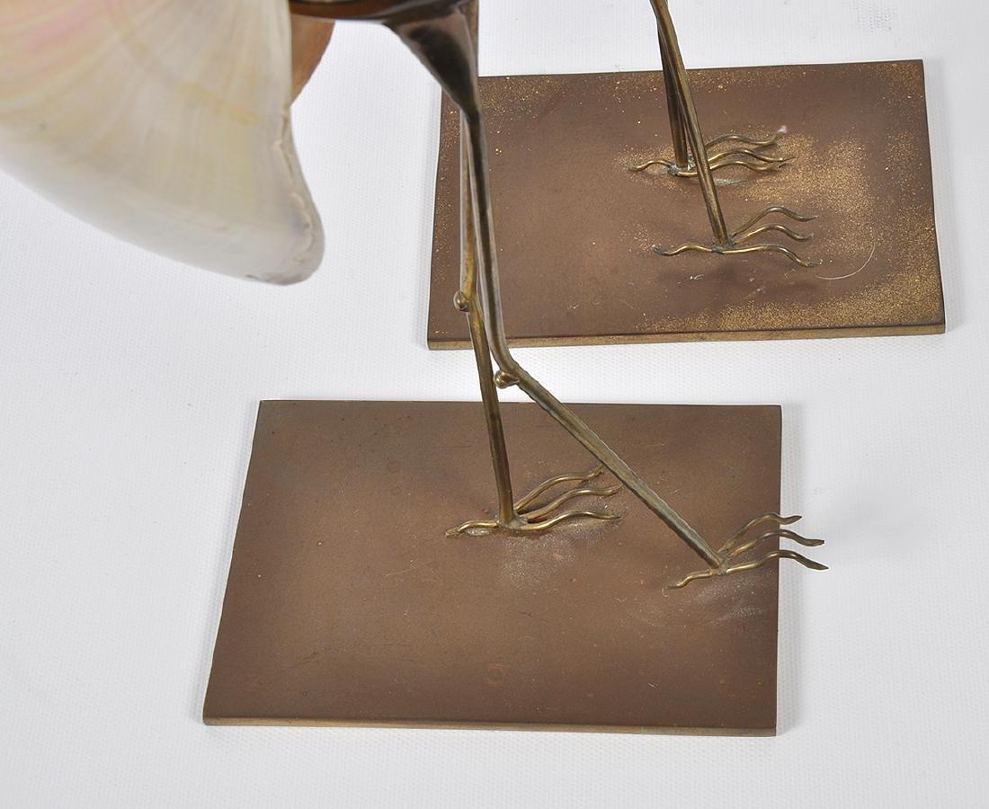 2 Bronze Mounted Nautilus Shell Bird Sculptures - 12