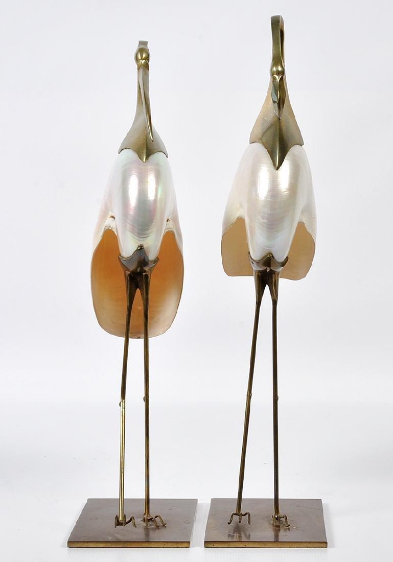 2 Bronze Mounted Nautilus Shell Bird Sculptures - 13