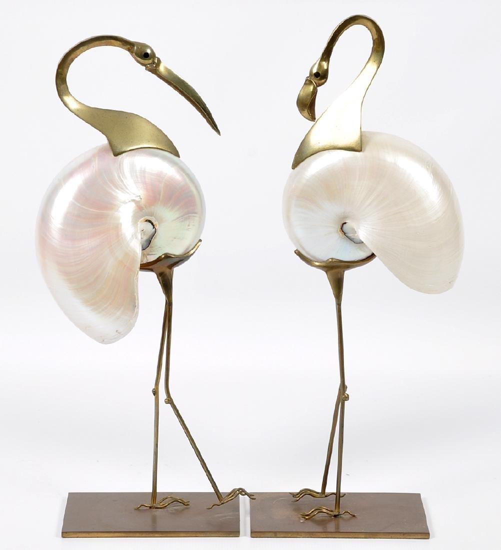 2 Bronze Mounted Nautilus Shell Bird Sculptures - 17